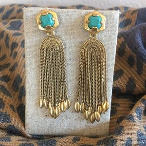 Stella & Dot Odeon Turquoise & Gold Earrings